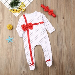 Pudcoco Newborn Baby Boy Girl Clothes Polka Dot Print Bowknot Long Sleeve Romper Jumpsuit Headband 2Pcs Outfits Cotton Clothes
