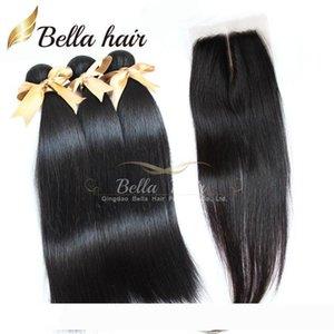 Brasilianisches Haar-Bundles (4x4) Mittel perruque Teil Lace Verschlüsse mit Bundles Haar-Einschlagfaden Weaves 3pcs Haar-Verlängerungen Bellahair Natur Col