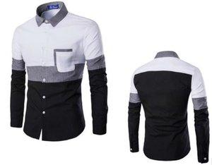 Мужские дизайнерские Лоскутная цвета Рубашки повседневные рубашки отворотом шеи длинным рукавом мода Подростковая рубашки Мужчины Одежда