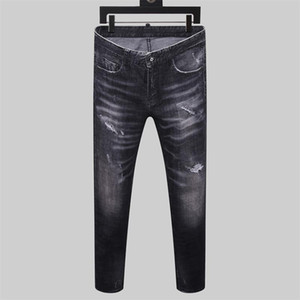 2020 Fashion Mens Designer Jeans Hole Slim Motorcycle Causal Jogging Brand Length Ripped printing Pants Size28-38