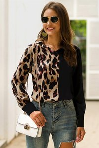 Womens Casual Shirts Fashion Loose V Neck Long Sleeve Womens Shirts Casual Females Clothing Half Leopard Panelled