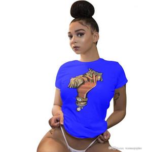 Magliette Estate Designer dollaro stampato modo caldo Via T casuali delle parti superiori delle donne INS caldo