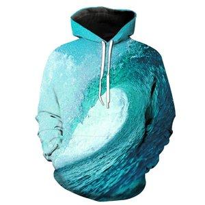 Großhandels-neue Ankunft die Wellen Digital Printing Stereo Paste-Beutel-beiläufige Hoodie für junge Männer Entwerferhoodies-Mode Hipster Hoodies