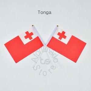 Tonga flag Banner 10 Teile / los 14x21 cm Flagge 100% Polyester Flaggen Mit Kunststoff Fahnenmasten Für Feier Dekoration Tonga