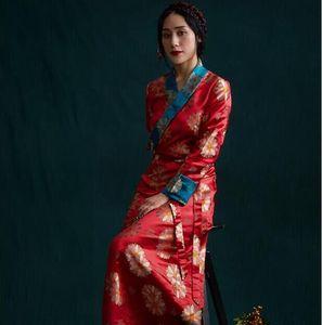 South Asia Nepal Tibet Himalayan Areas Travel costume Woman lady girl clothing oriental Chinese moden Long Robe tibetan dress