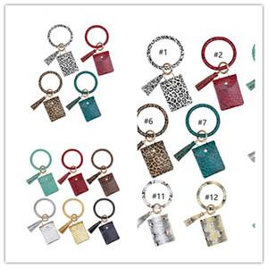 Titular caso de las señoras de las borlas de la llave de tarjeta de crédito del bolso Paquete PU pulseras monedero Keys Anillos Llavero cartera cambiar 15 colores Boutique DHL E22909