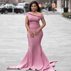 Офф плечо невесты платье плюс размера Dusty Pink Mermaid African Wedding Guest платье Формального выпускной вечер платье дешевого
