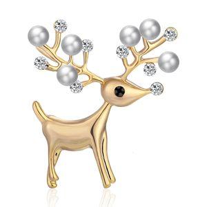 Belle sika Noël huile animale pectorale Perle Broche belle