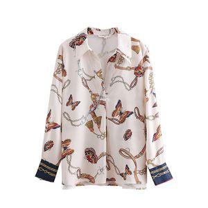 2018 Frauen Vintage Kette Schmetterling Druck Lässige Kimono Blusen Shirt Frauen Herbst Chic Blusas Roupas Femininas Tops Ls2669