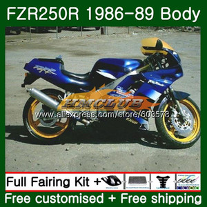 Vücut için FZR250R FZRR FZR 250 250R 1986 1987 1988 1989 124CL.33 FZR250RR FZR250 FZR250 86 87 88 89 Mavi Parlak Fairing