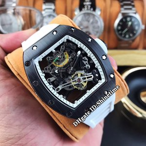 제한 버전의 새로운 RM 38-01 블랙 세라믹 케이스 일본 미요 자동 기계 해골 다이얼 RM38-01 남성용 시계 고무 스트랩 스포츠 시계