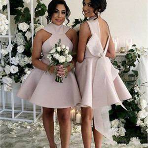 2020 Cheap Halter Short Bridesmaid Dress Bow Sash V Cut Backless Maid of Honor Dress Wedding Guest Gowns
