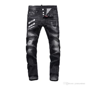 Mens couture jean Solid Color Biker Cool Jeans Fashion Slim Ripped Washed Pencil Pants Mens Jeans Male designer jeans