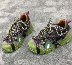 Nuovo progettista FlashTrek Sneaker con cristalli rimovibili progettista del mens di lusso scarpe moda casual di lusso del progettista delle donne delle scarpe da tennis 01 T03