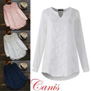 Las mujeres con cuello en V de encaje bordado floral blusas de mujer elegantes camisas de manga larga de las señoras del verano tapas ocasionales blusa suelta la mujer
