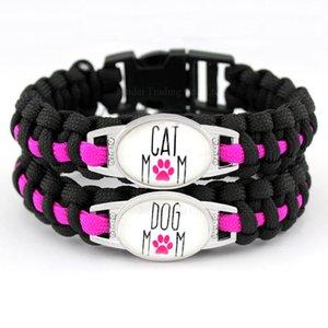 Individuell Dog Mom Cat Mom Schwarz-Rosa-Hundeliebhaber-Katzen-Liebhaber-Liebe-Liebe Paracord Überleben Freundschaft Armband der Frauen