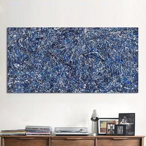 """Jackson Pollock """"Blauer Hintergrund"""" Hohe Qualität Handgemalte Moderne Wandkunstausgangsdekor-abstrakte Kunst-Ölgemälde auf Canvas.jk15"""