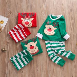 new Xmas INS Kids Adult Red Green white Family Matching Christmas Deer Striped Pajamas Sleepwear Nightwear Pyjamas bedgown sleepcoat