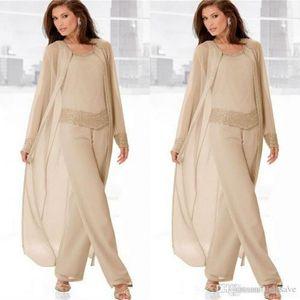2019 Champagne mère pantalons costumes avec de longues vestes manches longues en mousseline de soie perlée mère de la tenue de mariée