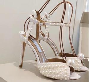 Sandali con tacco alto 2019 estate newJC intarsi perla moda tutti abbinati fata vento sandali fibbia parola romana
