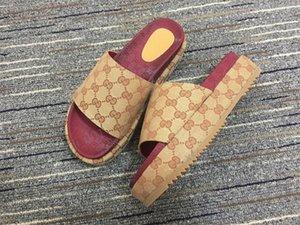 Gucci slippers Letters Frauen Designer Sandalen Sommer-Keil-Absatz-Plattform Sandale Slipper Marke wehrt Flip Flop Luxus Strand Pantoffel