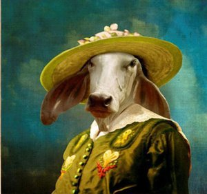 -yy-03134 ANIMAL Cow PERSON Handpainted Handwerk Kunst-Ölgemälde HD Druck-Malerei-Kunst-Öl auf Leinwand Wandbilder