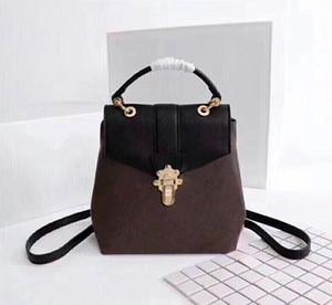 Kadınların Eski kafalı Geri paketi bayan Sırt Çantası Kilidi ve Düğme Omuz Çantası bayan sırt çantası Omuz çantası için Toptan Klasik deri sırt çantası