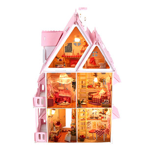Furniture DIY Doll House Wodden Miniatura Doll Houses Furniture Kit DIY Puzzle Assemble Dollhouse Toys For Children Girls Gift