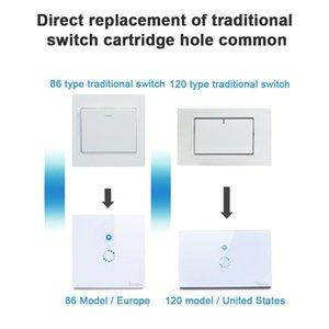 Muro Sonoff Wifi toque interruptor Wifi LED toque Temporizador de vidro Painel Controlador Light Switch Remote Control Por APP US EU Plug navio rápido