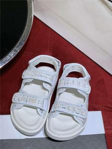 Son renk Koleksiyonu Dokuma tüvit sandalet, 20 P deri kadın terlik süet katır renkli spor sandalet ile orijinal ambalaj