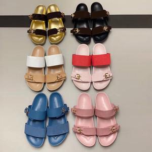 2020 Designer Shoes Mulheres Deslize Sandália Baixa Mule Bom Dia Homens senhora Carta Imprimir Couro Borracha sandália flip Flops Sapatos de verão