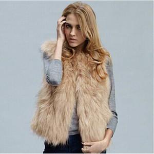 Mulheres Faux Faux Casaco Curto Mulheres Vista De Inverno Sem Mangas Outerwear Casual Colocas Casaco Mulheres Sheepskin # 3