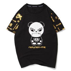 Neue Sommer-Karikatur-Panda Bronzing Letters gedruckt Kurzarm T-Shirt Cotton Große Größen-Sommer-Top M-5XL