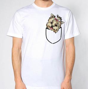 Yorkshire Terrier Gefälschte Tasche T-Shirt Welpe Tierliebhaber Nette Schöne Hund Top Männer Frauen Unisex Mode t-shirt Freies Verschiffen