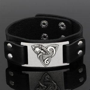 Huilin Jewelry Slavic Wolf Head Pulsera de amuleto de cuero Accesorios vikingos Pulsera de personalidad para hombres y mujeres
