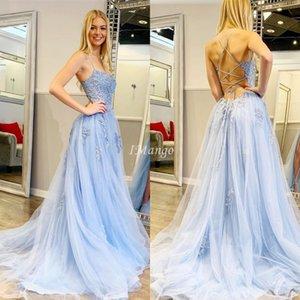 New Sky Blue Prom Dresses Long 2020 Halter Lace Appliques Corset Back A-Line Graduation Evening Party Gowns Customized Robe De Soriee