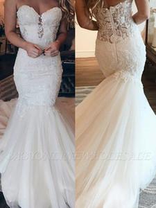 2020 Affordable Strapless Tüll Brautkleid Chic Mermaid Backless Riemen ärmellose langes Kleid für Hochzeit