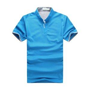 Männer Sommer Kurzarm-Polo Shir Männer Casual Stehkragen Shirt Weiß Rot Grau Grün Schwarz Blau-kurzärmliges Shirt Mann T200527