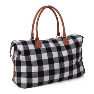 Buffalo Compruebe Diseño bolso rojo y negro a cuadros bolsa de tela escocesa Duffle Bag Check Weekender noche a la mañana de almacenamiento Bolsas OOA6384