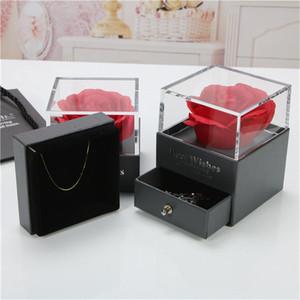 L'alta qualità bella scatola fiore di rosa rossa con 100 Lingua Ti amo collana per il regalo di San Valentino Fidanzato