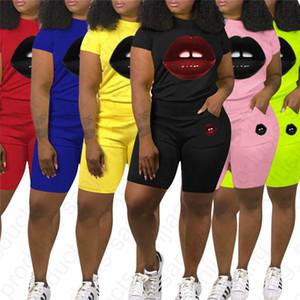 S-XXL 2020 Delle Donne Tuta 2 Pezzo Shorts Set Estate Abiti labbra Stampa Manica Corta T-Shirt+Shorts Pantaloni Tuta Sexy Abbigliamento D41002