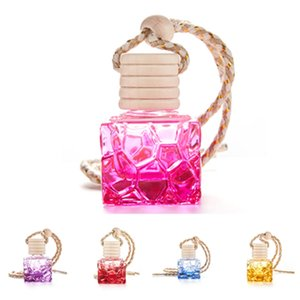 Colorful square portable mini glass bottle perfume bottle thick empty bottle car modern decoration Homeware T2I51136