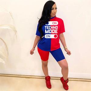 Pantaloni Set di abbigliamento stampa della lettera a pannelli Designer 2pcs Tute donne di estate in corso Tute Pullover Top corto