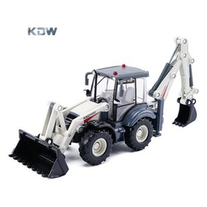 KDW Diecast Alloy Two-way Tractor Shovel& Excavator& Digger Model Toy, 1:50 Scale, Ornament, Xmas Kid Birthday Boy Gift, Collect, 625004,2-1