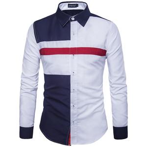 Mens 2020 Luxury рубашка Мода Panelelled Mens Тонкий Тис Свободный конструктор Tops мужчина с длинным рукавом