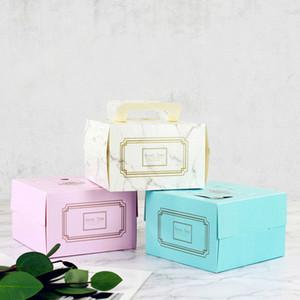 10pcs rete rossa sqaure 4inch mini torta di compleanno carta packaging box cottura del prodotto pacchetto mousse scatole da dessert piccolo regalo