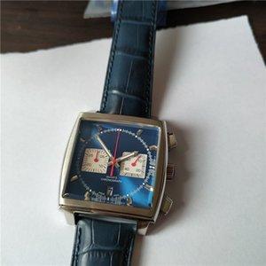 Горячая продажа человек смотреть спортивный стиль кварц секундомера нержавеющей стали часы для мужчин наручные часы синий кожаный ремешок T02