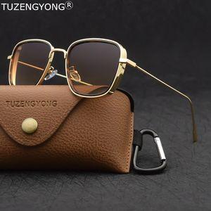 TUZENGYONG 2020 Uomini Donne Brand new Steampunk occhiali da sole dello stilista di Vintage Piazza telaio in metallo Occhiali da sole UV400 Eyewear Y200415