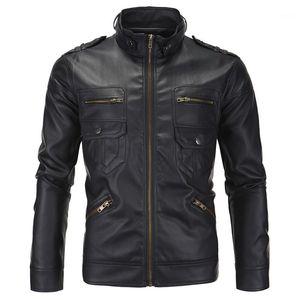 Куртка дизайнер с длинным рукавом стенд воротник мужские кожаные пальто зимняя мода мужской верхней одежды PU мужской мотоцикл