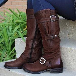 Frauen Booties Qualitäts-Leder-Knie-Hohe Buckle Zipper Schuh Cowboy Low-Heels Knigh Motorrad-Boot-Plus-Größe 43 West